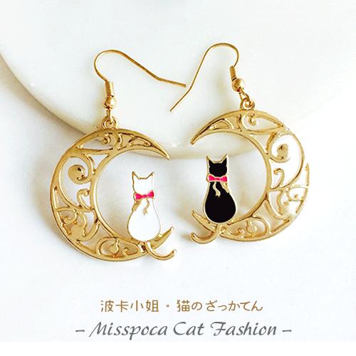 月光上の貓背影 金色鏤空耳環 日式手工設計 優雅質感女生耳飾 抗過敏耳針 時尚銀飾《波卡小姐 貓咪小物》BT0063