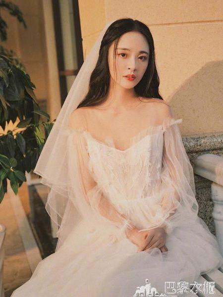 赫本森系輕婚紗2019新款新娘禮服一字肩長拖尾奢華顯瘦女小個子白 巴黎衣櫃