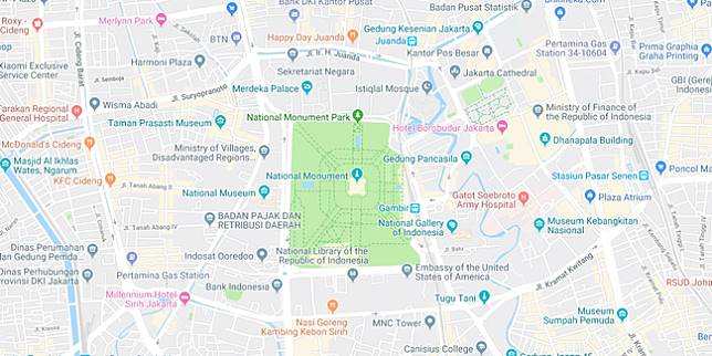 Jalan sekitar Monas (Google Maps)