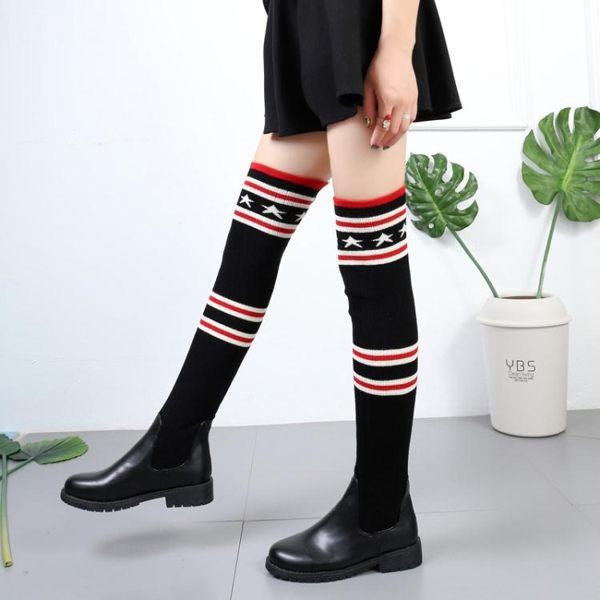 毛線膝上靴女過膝 襪 靴秋冬新款防滑平底粗跟長筒彈力針織秋冬皮靴