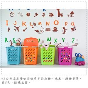【DOLEDO】日式收納籃(45公升)-二入 附手把,可輕鬆提拿。 附蓋的貼心設計,並擁有45公升的高容量,讓您輕鬆收納更多的衣物、玩具、雜物......! 日式風格的外型,搭配繽紛的色彩,增添居家生