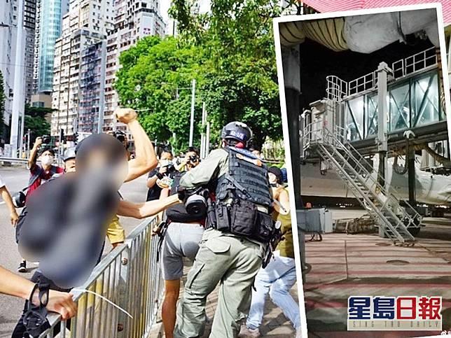 懷疑事發一刻。學媒新聞fb圖片(小圖為疑似警務人員在登機橋上。微博「水師DDD」圖片)