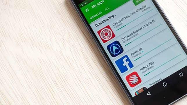 Ilustrasi aplikasi-aplikasi pada ponsel Android (Shutterstock).