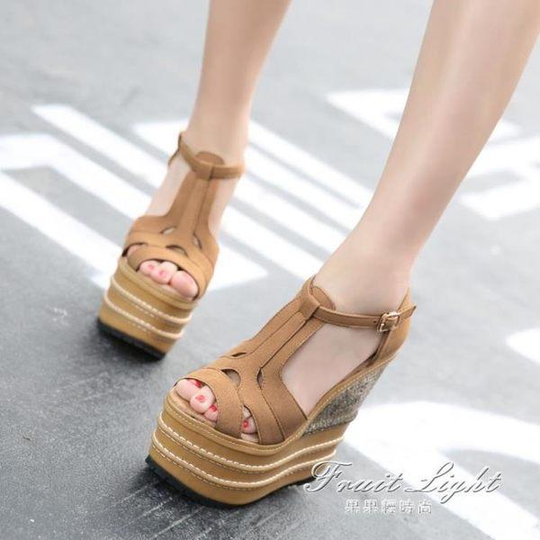 超高跟坡跟防水台16cm小碼魚嘴民族風14cm厚底纖維女涼鞋鞋【果果新品】