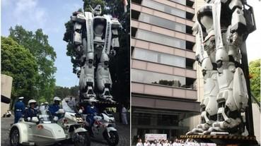 8 公尺高的英格蘭姆!8 公尺的黑白機器人 終於抵達日本東京警視廳本部