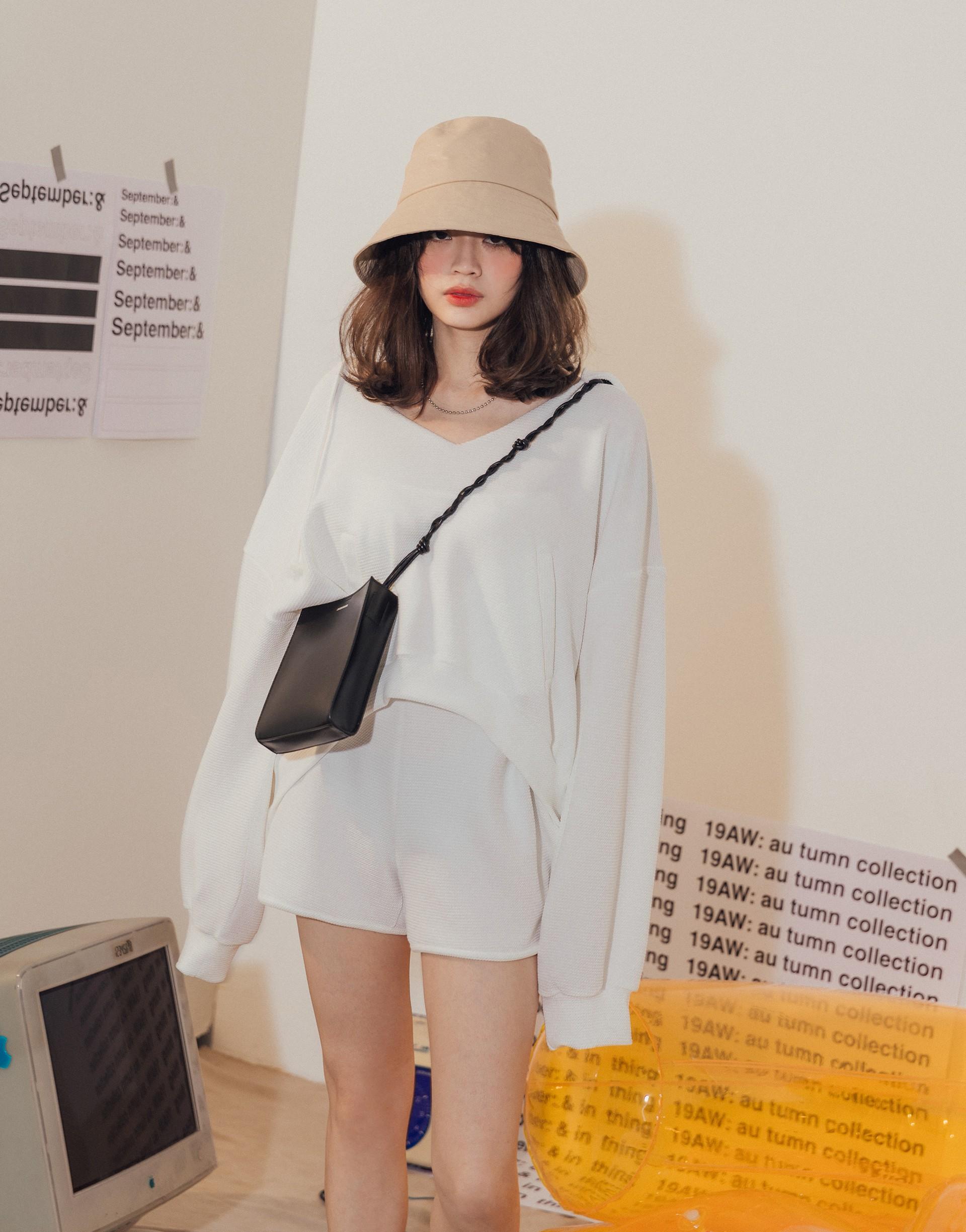 台灣製造/PAZZO自訂開發布料/長袖上衣+短褲兩件式/上衣有口袋/褲子鬆緊腰頭