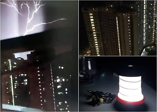 有網民拍攝到閃電擊中大廈一刻(左)。景林邨景楠樓曾經一度停電(右上)。有網民表示要取出充電照明燈應急。(互聯網)