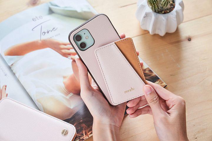 SnapTo Vegan 皮革磁吸卡夾,是以磁吸方式與手機殼連結。