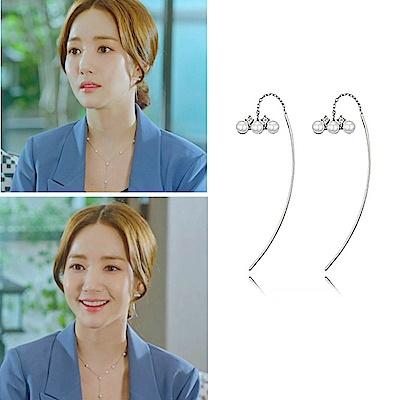 梨花HaNA 韓國925銀韓劇朴敏英她的私生活三顆珍珠耳環