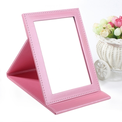 幸福揚邑 7吋皮革化妝時尚質感隨身折疊鏡(珍珠甜蜜粉色)