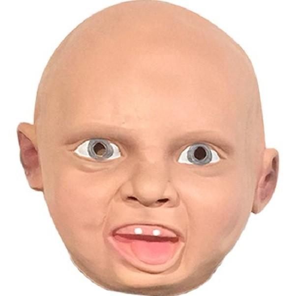 【嬰兒哭臉面具CH】 笑臉頭套 兒童恐怖惡搞成人乳膠頭飾 萬聖節表演道具交換禮物