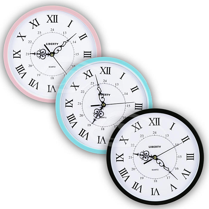 【LIBERTY利百代】12吋羅馬復古掛鐘 LB-1005藍