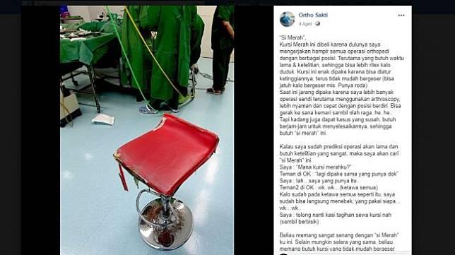 Cerita kursi merah yang sering dipakai dr. Bernadette, dokter yang meninggal karena corona (Facebook Ortho Sakti)