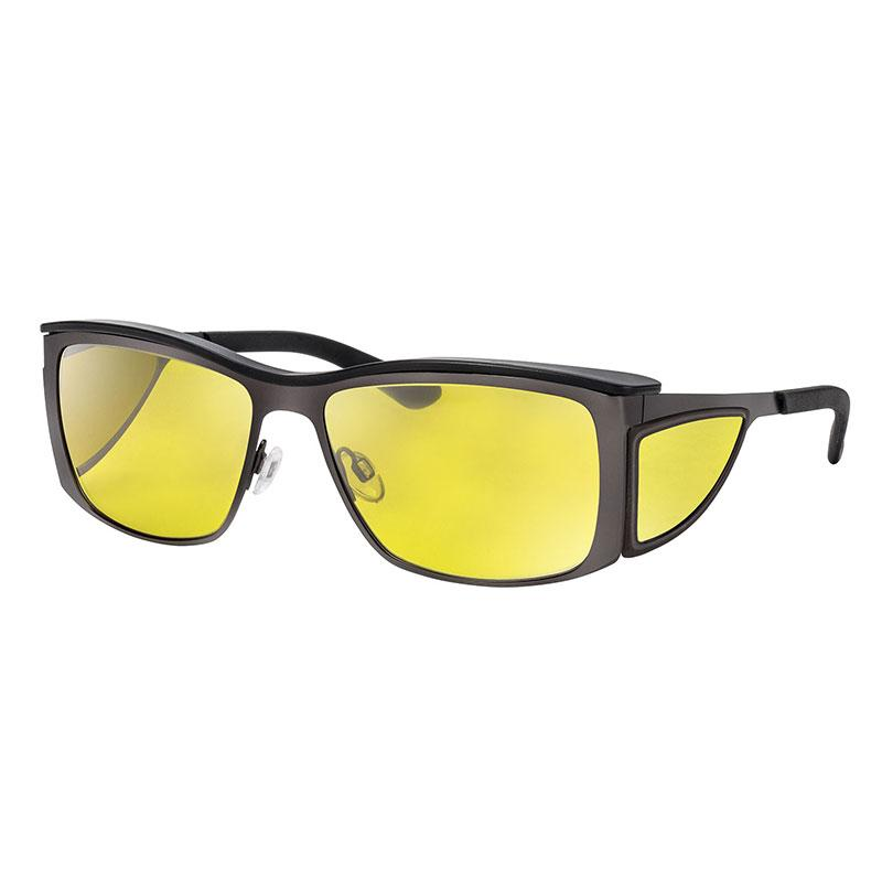 wellnessPROTECT Sport 德國製高防護包覆式濾藍光眼鏡 金屬框 15%亮黃色 金屬大框 無煙煤 (59□16-135)