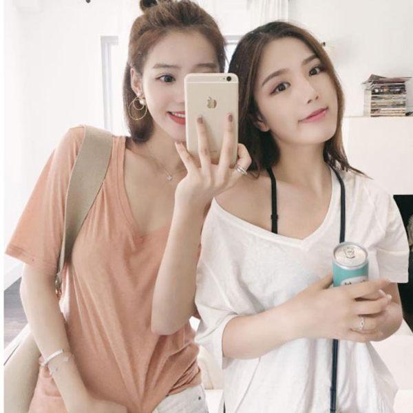 t恤女短袖2019新款韓版夏純色寬鬆閨蜜打底衫白色V領半袖ins上衣 藍嵐