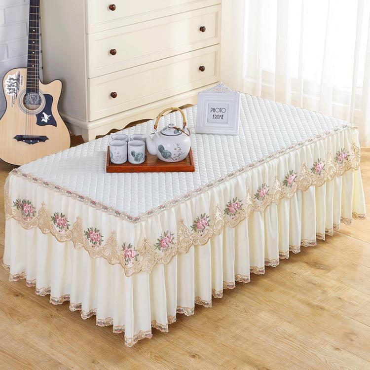 茶幾桌布長方形客廳餐桌防塵墊蕾絲電視櫃簾蓋布布藝全包茶幾套罩 雙12全館85折