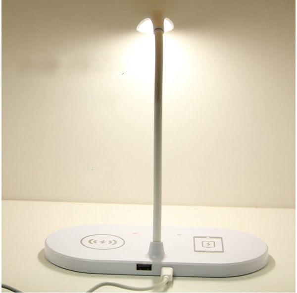 (120點) 無線充電檯燈 LED護眼檯燈 觸控式 小夜燈 USB插孔 [58巷弄]