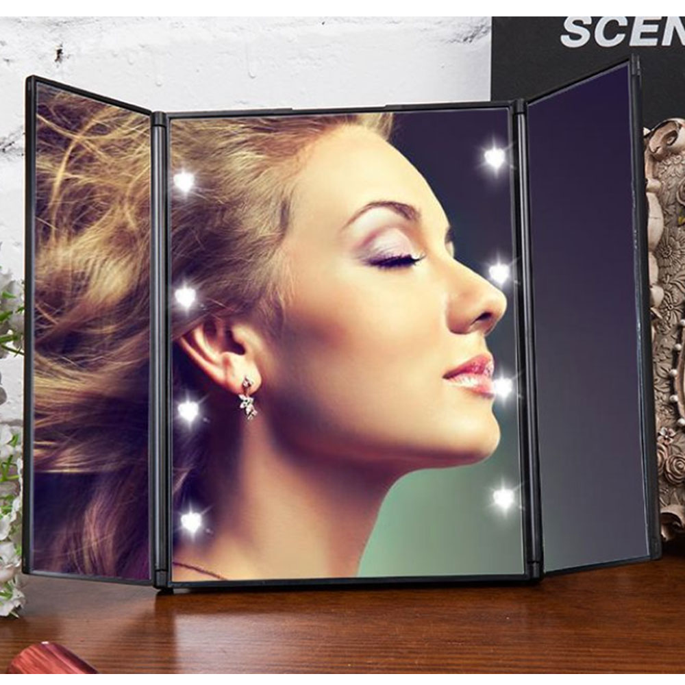 LED桌上化妝鏡推薦3. 三面折疊LED化妝鏡