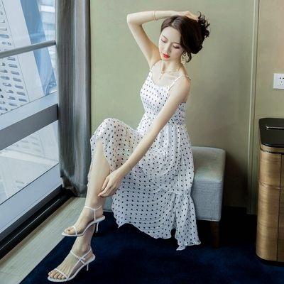 性感白色圓點波點雪紡吊帶連身裙.工廠直銷不退換~中長款荷葉邊裙無袖洋裝9088GT266-E快時尚