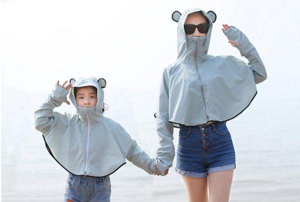 防曬衣防曬衣女夏季網紅騎車衫紫外線百搭服親子薄透氣短款外套 小天使