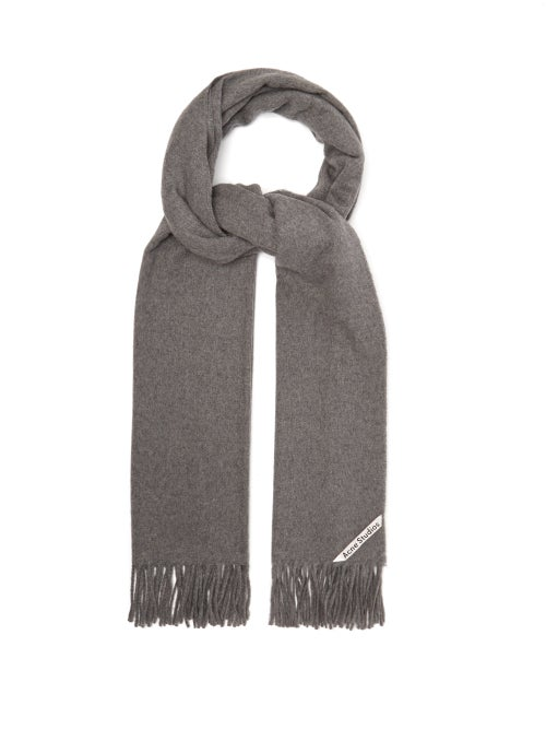 Acne Studios - Acne Studios' signature Canada scarf is an effortless accompaniment to your ensembles for chilly temperatures. It's made in Italy from soft cashmere felt with fringed edges, then marked with a logo-embroidered tab. Team it with a relaxed coat and boots to meet a friend for coffee.