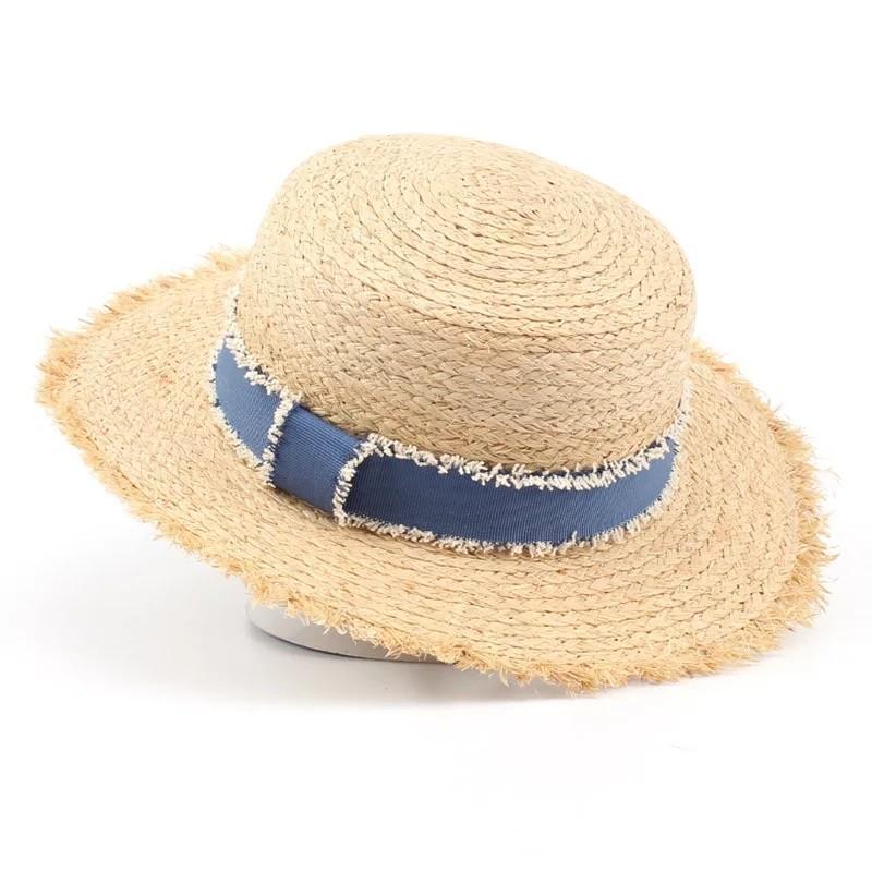 春夏拉菲草牛仔緞帶平頂草帽遮陽帽