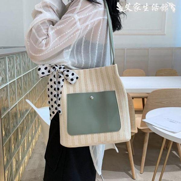 洋氣包包編織女包夏季新款2019流行側背包大容量女時尚百搭托特包