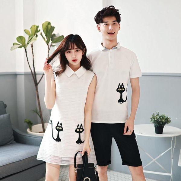情侶上衣 情侶裝夏裝新款韓版繡花短袖T恤套裝上衣夏季韓范連身裙女潮 伊蘿鞋包