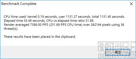 POV-Ray 使用 36 條執行緒,獲得 7386PPS