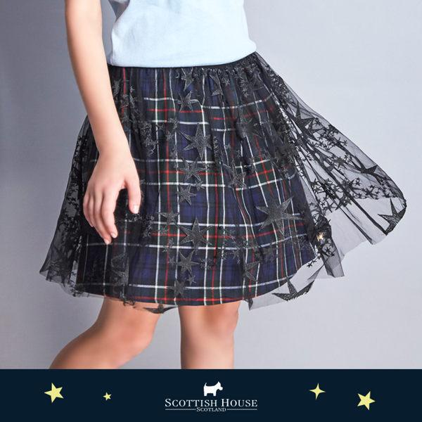低調星星網紗格子裙 Scottish House【AJ2109】