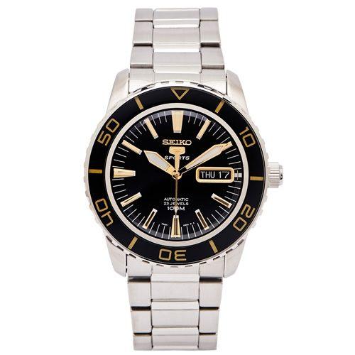 原廠平行輸入n5號機芯的機械錶n黑色錶盤n可旋轉式錶框n金色系時間刻度x指針n型號:SNZH57K1