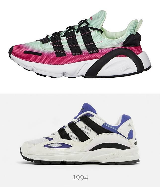 去年登場的 LXCON就正是從1994年誕生的Lexicon進化而成,經歷25年光景「瘦身」過程,鞋側三間及鞋踭弧形線條都尚可看出兩者關係。(互聯網)