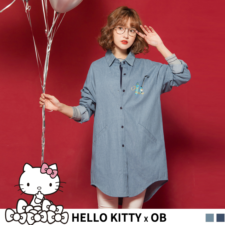 BEAUTY系列KITTY高含棉仿牛仔襯衫