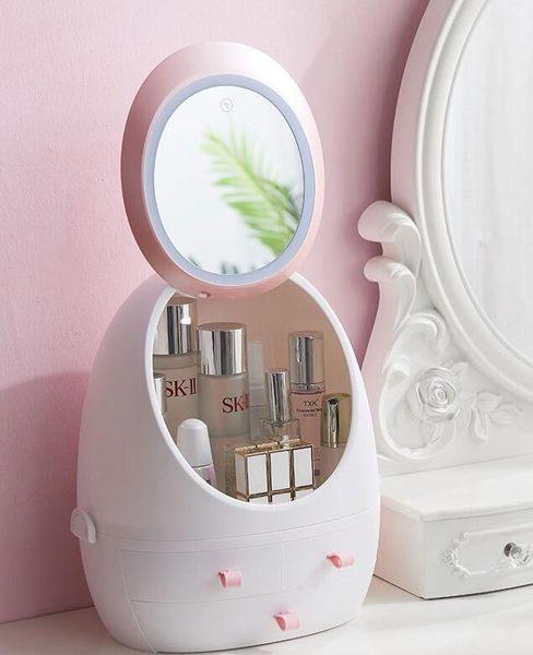 化妝盒帶LED燈鏡子 抽屜式手提桌面防塵網紅化妝品收納盒 青山市集