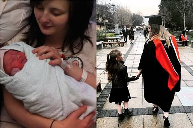 ▲穿著學士袍的瑞秋牽著 6 歲女兒的手成功畢業,感動 12 萬網友。(合成圖/翻攝自 @RachaelCampey 推特)