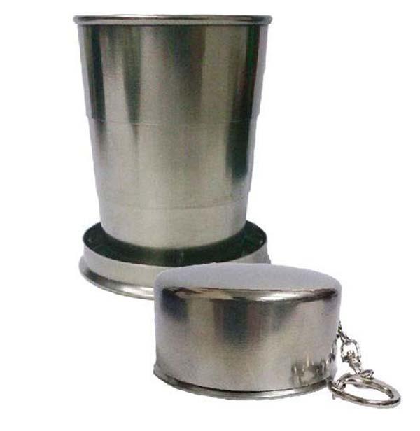 不鏽鋼杯 野外、旅行、出差、便攜、衛生 全不銹鋼便攜伸縮杯帶扣環可掛於腰間.皮帶 材質:304不銹鋼 包裝:黑色紙盒 尺寸:7.3cm 杯口直徑:5.8公分 杯底直徑:6.5公分 容量:約150毫升