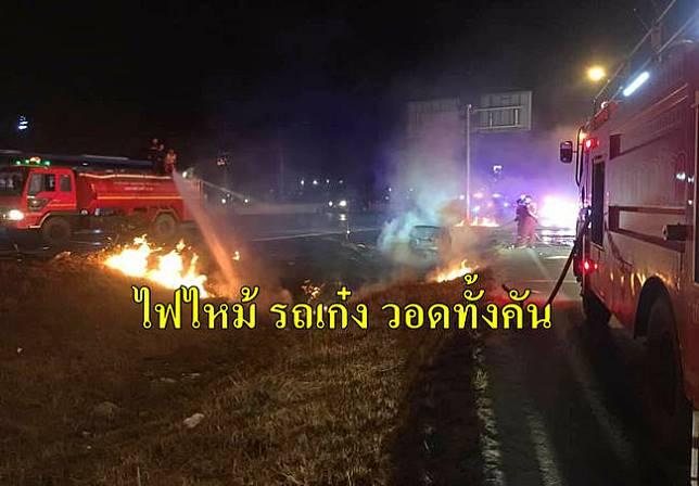 ระทึก !!  รถเก๋ง พุ่งลงข้างทาง พลเมืองดีช่วยดึงคนขับ หวิดถูกไฟคลอกร่าง จ.พระนครศรีอยุธยา