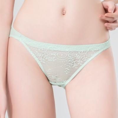 思薇爾 春漾佳人系列M-XL蕾絲低腰三角內褲(鈴蘭綠)