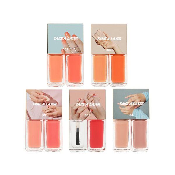 TAKE A LAYER系列指甲油n較淺顏色塗指甲1/2處,較深的顏色塗指尖,簡單完成漸層色指彩!