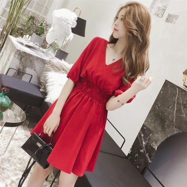 短袖洋裝 雪紡連身裙韓范溫柔風A字裙顯瘦收腰短袖打底裙子 巴黎春天