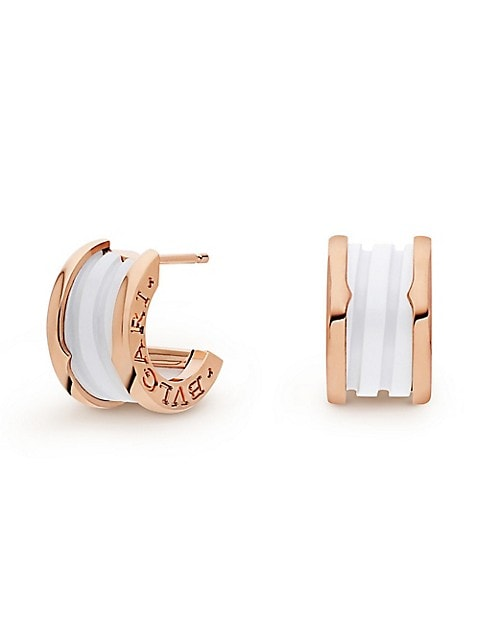 From the B.zero1 Collection. Two-tone gold and ceramic earrings flaunt engraved logo detail.; Cerami