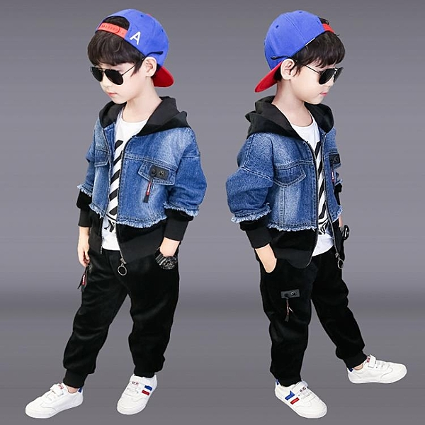 大碼男童套裝 2020年新款洋氣連帽外套長褲長袖上衣牛仔三件套潮