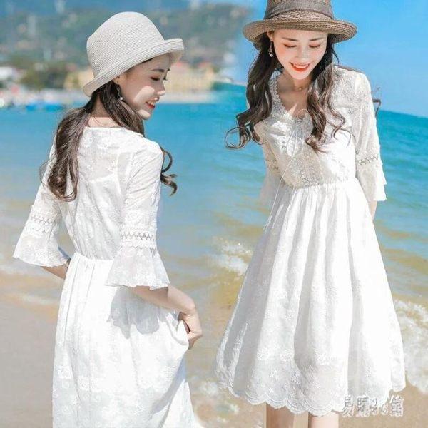 波西米亞洋裝 2019新款韓版收腰修身顯瘦大擺中長款v領沙灘連衣裙 CJ1512『易購3c館』