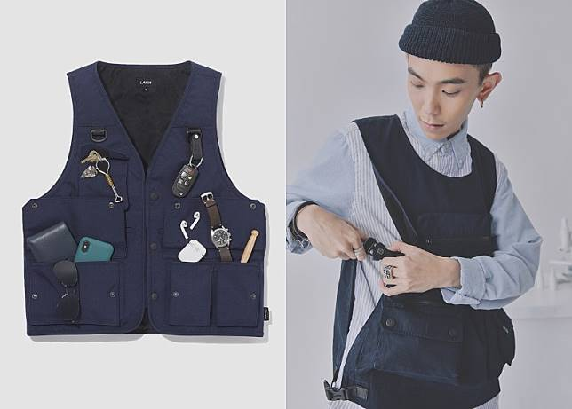 CORDURA®Tactical Vest及 Pullover Vest同樣擁有極高載物能力,後者於兩側更用上加入指南針的調節搭扣。(互聯網)