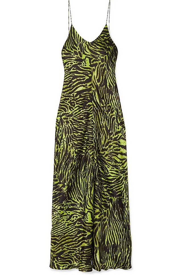 GANNI綠色虎紋絲質吊帶裙(互聯網)