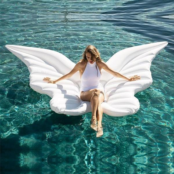 天使翅膀充氣浮床蝴蝶浮排天使之翼水上游泳圈氣墊婚紗照攝影道具