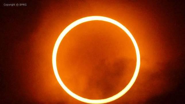 Gerhana Matahari Cincin (GMC). (Dokumentasi BMKG)