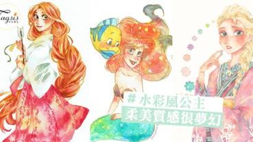 日本插畫家筆下超美的迪空尼公主!穿上和服真是美翻了呀~柔美質感很夢幻!