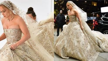 「翹臀珍」珍妮佛羅培茲再度披上白紗!華麗婚紗造型現身紐約街頭引發熱議