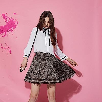 ICHE 衣哲 時尚動物豹紋印花拼接打摺造型短裙-咖